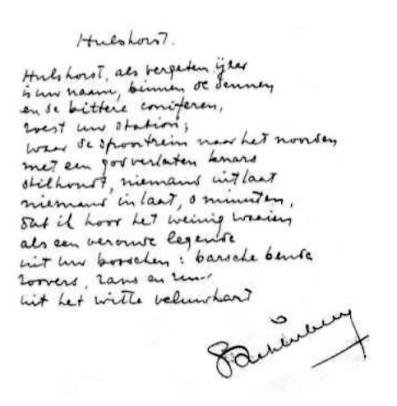 Het gedicht in het handschrift van de dichter zelf.